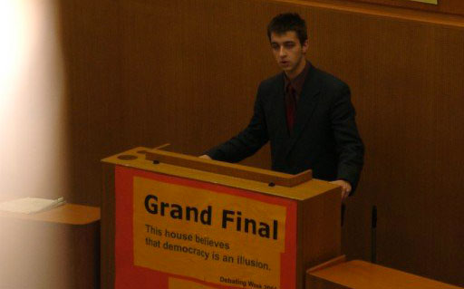 Me on the podium at the European Debate Championship in 2001