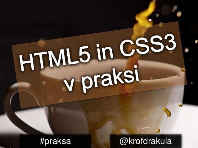 My presentation title slide, Practical HTML5 and CSS3